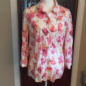 Pink and white button down size 14 never worn NWOT